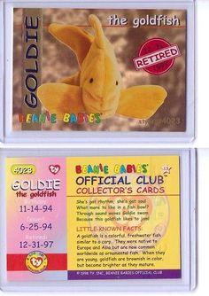 b3a218d715c Trading Cards 1496  Ty S1 Red Retired  Goldie The Goldfish   Beanie Card  Insert