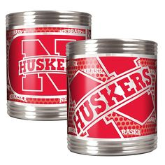 Great American Products NCAA 2-piece Stainless Steel Can Holder Set - Nebraska Cornhuskers