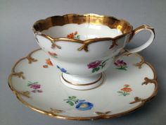 19th Century Hand Painted Meissen Porcelain Cup and Saucer: Meissen Dresden Porcelain,