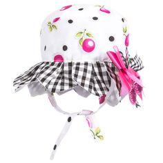 Girls White Cherry Print Sun Hat, Little Darlings, Girl