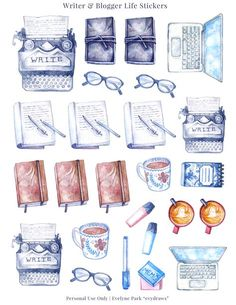Vintage inspired watercolour stickers for planners, writers, and bloggers. Hand-drawn journals, notebooks, typewriter, laptop, coffee & tea stickers as a printable sticker sheet to use again and again! Plan writing sessions, blog posts, or when to plan the next week. :)