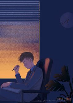 Late in night when all the world is sleeping: Original works growing troubles ~. Anime Gifs, Cartoon Gifs, Anime Art, Aesthetic Images, Aesthetic Anime, 8bit Art, Night Gif, Boy Illustration, Anime Love Couple