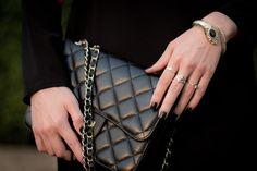 Black Chanel bag & black matte nails