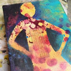 Breaking out my homemade girl stencil; gelli plate background #allplay #alteredstatesstudio | Flickr - Photo Sharing!