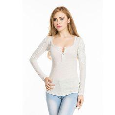 Hot New Autumn Cotton Lace Top O-neck Mesh Patchwork Blusa De Renda Long Sleeve Women Shirts Fashion Camisas Mujer Manga Larga