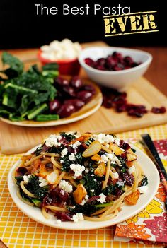 Pasta with Toasted Garlic, Dried Cranberries, Kale, Kalamata Olives  Feta