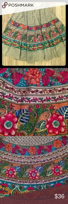 """Gypsy BoHo Colorful Sequined Flare Skirt Midi NWOT 🌺🌸Gypsy Bohemian Flared Midi🌺🌸  Vibrant patterns & colors accented by hundreds of  multi-colored sequins AND shimmery seed beads! HUGE FLARE AT 230 INCHES AROUND! Left side zipper with hook & eye closure. NWOT ...Perfect condition (no sequins or beads are missing)...Size Medium  Measurements: 15.5"""" across waist 31.5"""" long Chaundry Skirts"""