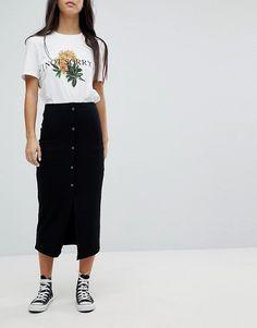 ASOS Petite | ASOS DESIGN Petite rib popper midi skirt