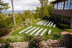 Door County Late Summer Wedding. Blue and yellow theme. Outdoor ceremony.    Jason Mann Photography ~ 920.246.8106 ~ http://www.jmannphoto.com