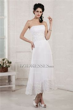 Sheath/Column Strapless Sweetheart Chiffon Wedding Dresses - IZIDRESSES.COM