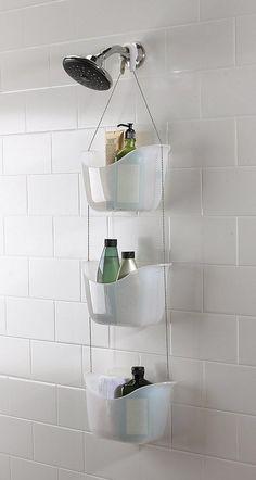 Mainstay Hanging Folding Shower Caddy Bathtub Organizer Decor