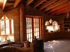 Straw bale with French door