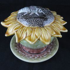 Majolica Sunflower & Beetle Covered Butter Dish