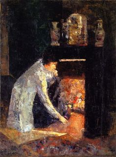 Lesser Ury (German, 1861 - 1931)  Woman at the Fireplace Private collection 1882