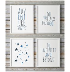 Blue Nursery Decor, Nursery Quotes, Adventure Awaits, Kids Prints, Baby Wall Art, Childrens Wall Art, Best Selling, To Infinity And Beyond by WhitePrintDesign on Etsy