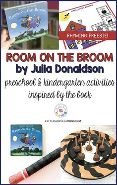 Room on the Broom by Julia Donaldson is a great Halloween book for preschool, pre-k, & kindergarten. Click through for FREE activities and printables inspired by this book. Includes a craft (Witch's Broom), a snack (Broomstick Pretzels), and a FREE Rhyming printable. Can be used in your homeschool preschool or in your preschool classroom with your students (add to your October Lesson Plans) Reinforces early literacy concepts such as phonemic awareness and makes reading FUN! #preschool #prek