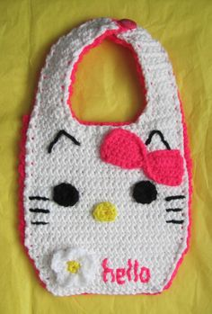 Hello Kitty Baby Bib Hand-Crocheted by GobbiGoodies on Etsy