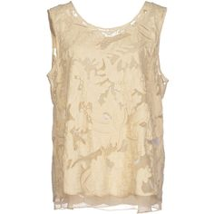 Twin-Set Simona Barbieri Top ($130) ❤ liked on Polyvore featuring tops, beige, beige top, zipper top, sleeveless tops, twin set tops and zip top