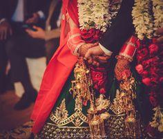 Bridal Details - Emerald Green Silk Lehenga with Gota Work, Gold Kaleere and Red and White Chooda #wedmegood #kaleere #chooda #bridal #details