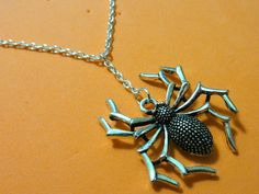 Silver Spider Necklace! Only $14! Nickel free chain!  thenchantedforest.ca Enchanted, Spider, Insects, Chain, Gifts, Free, Shopping, Jewelry, Spiders
