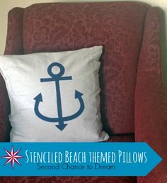 Second Chance to Dream: Stenciled Beach Themed Pillow #beachdecor #natuicaldecor
