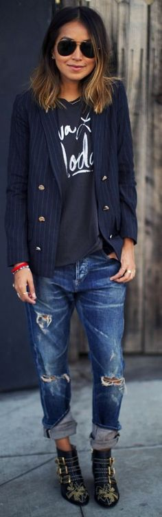 Navy Pinstripe Gold Button Detail Blazer by Sincerely Jules. If I rolled my pants up like that, they would be above my knee! LOL.