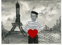 "that artist woman: ""Postcard from Paris"" Valentine. She does with Gr. 2., uses cardboard edge as a print tool. Lots of fun here!"
