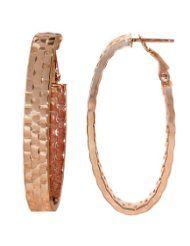 14k Rose Gold Italian Fancy Basket Weave Pattern Oval Hoop Earrings