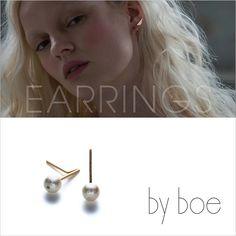 【定形外郵便可 120円】誕生日 記念日 贈り物 ギフト  by boe バイボー【E500 SMALL PEARL】Staple Small Stud with White Pearl Earrings ステイプルスモールスタッドウィズホワイトパール ピアス 14KGF