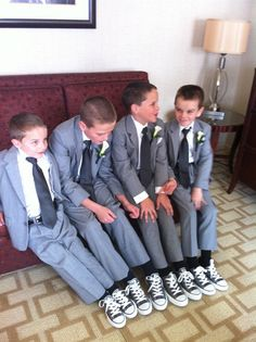 Gray suits with matching Converse shoes - great idea for the young boys in a wedding.