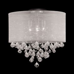 """New 4 Lamp Drum Shade Flush Mount Crystal Tear Bubble Ball Ceiling Light Dia 20""""   Home & Garden, Lamps, Lighting & Ceiling Fans, Chandeliers & Ceiling Fixtures   eBay!"""