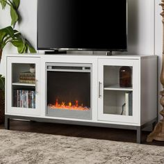 Walker Edison Furniture Company 52 in. Avenue Wood Fireplace TV Console with Metal Legs in White Wooden Fireplace, White Fireplace, Fireplace Inserts, Fireplace Console, Fireplace Design, Electric Fireplace Tv Stand, Electric Fireplaces, Entertainment Center, Furniture