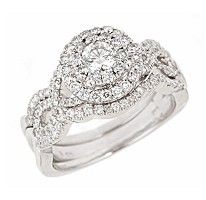 2 00 Ct T W Regal Diamond Engagement Ring Set In 14k White Gold