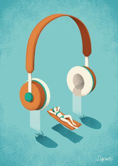 Editorial illustration for Benji Knewman magazine. #magazine #editorial #benjiknewman #headphones #music #sound #relax #waterfall #water