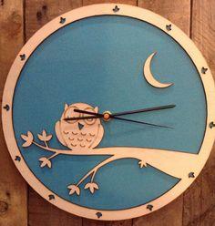 Whats Cutting Design Studio, Laser cut clock, Norman the Owl.