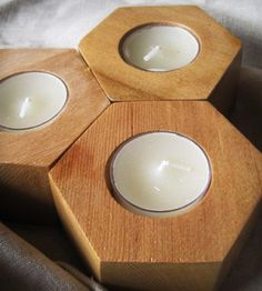 Spanish Cedar Hexagon Tea Light Candle Holders