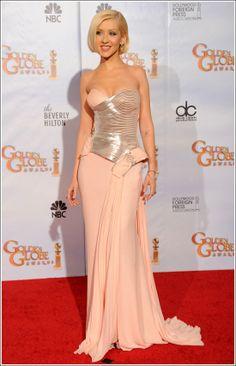 Christina Aguilera in Versace at the Golden Globe Awards