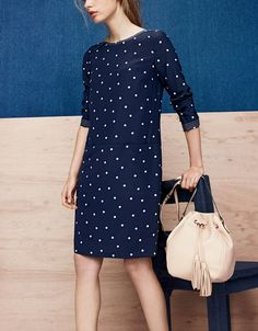 J.Crew women's silk shift dress in polka dot and tassel-tie bucket bag in smooth leather.