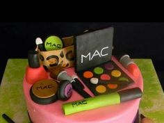 12 PCs of Mac makeup cake toppers made of fondant. Set includes everything on top of the cake in the picture. Items come from a kitchen that uses nuts. Please order at least 3 weeks before your event to allow for ample shipping time. Mac Makeup Set, Make Up Cake, Fondant Cake Toppers, Lunch Box, 3 Weeks, Etsy, Awesome, Kitchen, Cooking