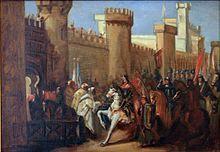 Entrada de Jaime I en Murcia en 1266, momento en que la mezquita aljama se consagró al culto cristiano.