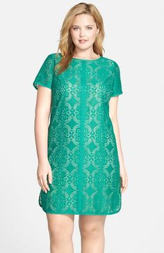 Adrianna Papell Medallion Lace Short Sleeve Shift Dress (Plus Size) available at #Nordstrom