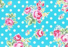 Aqua turquesa rosa flores lunares 31268 71 tela de Lecien flores azúcar