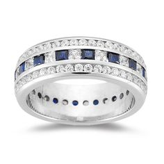 Eternity+Ring | Eternity Band – 2.07 Ct Diamond & 1.20 Ct Sapphire Eternity Band