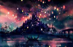 Tangled Lanterns Scene on Pinterest