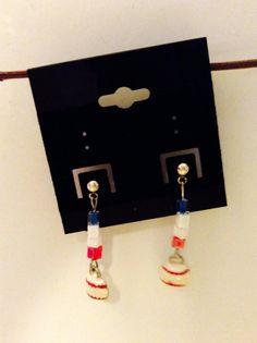Baseball earrings one of a kind sports by JeriAielloartstore