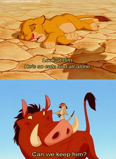 Look at him. He's so cute and all alone! Can we keep him? #LionKing I think this is how he makes friends
