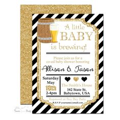 Baby Is Brewing Gender Neutral Baby Shower Invitation | www.foreveryourprints.com