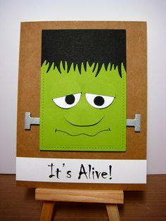 handmade Halloween card: It's Alive! by ima dz2 (Daria)   punch art styled Fankenstein Face in green on kraft ...