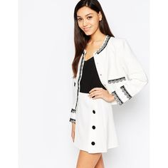 Sister Jane Grace Jacket With Lace Trim (£56) ❤ liked on Polyvore featuring outerwear, jackets, white, collarless jacket, white jacket, white collarless jacket, woven jacket and sister jane