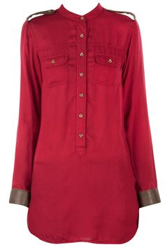 Maroon shirt with leather detailing available only at Pernia's Pop-Up Shop.